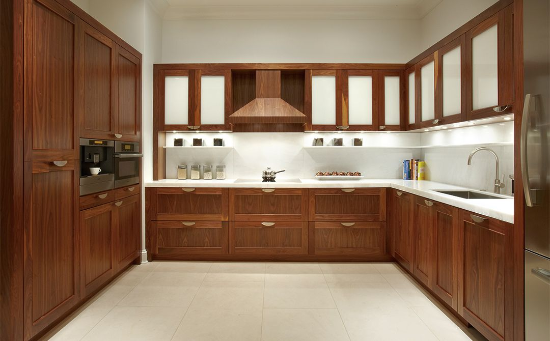 Custom Kitchen Cabinets in Natural Walnut | Plain & Fancy Cabinetry