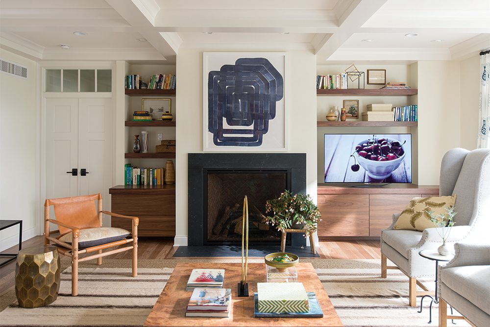 A White Living Room with Credenza cabinets and floating shelves