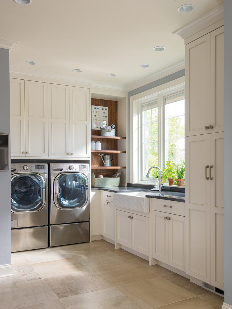 Laundry Room with White Custom Cabinetry