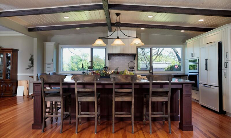 farmhouse kitchen remodel dark cherry island