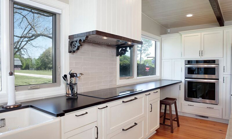 white farmhouse kitchen cabinets modern range hood