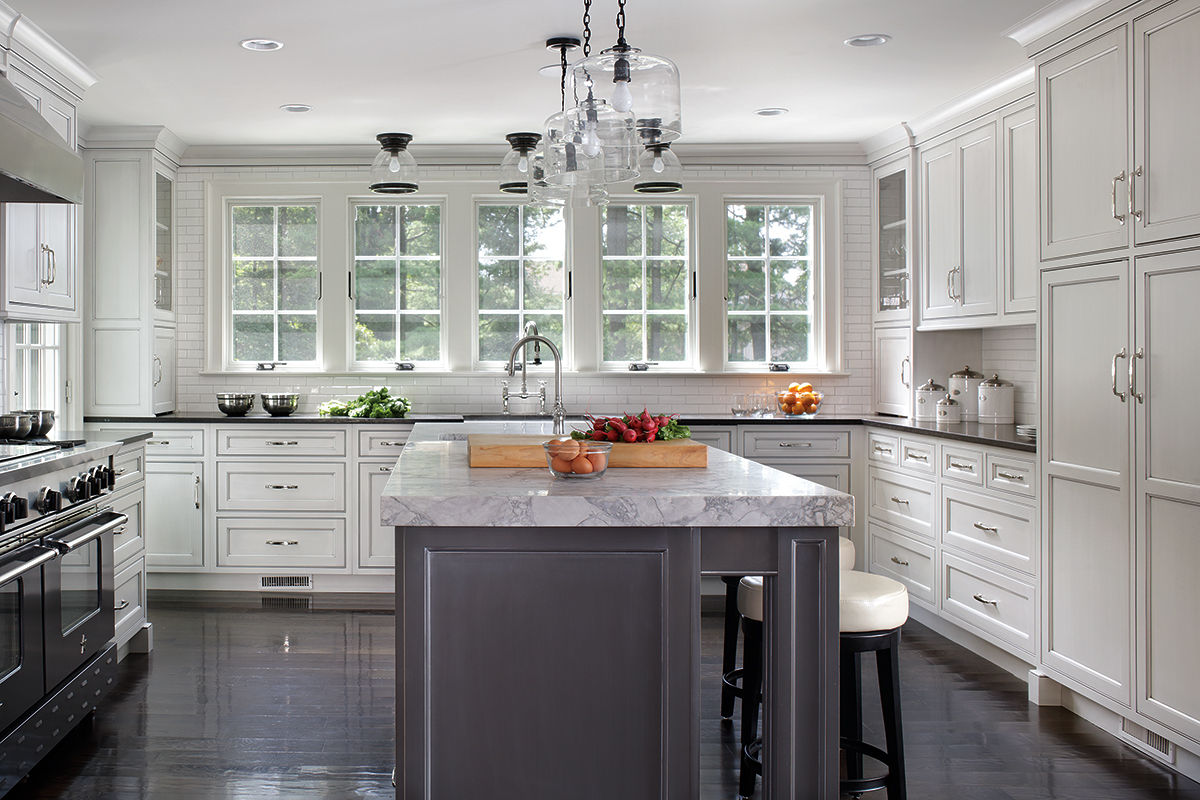 white and gray kitchen