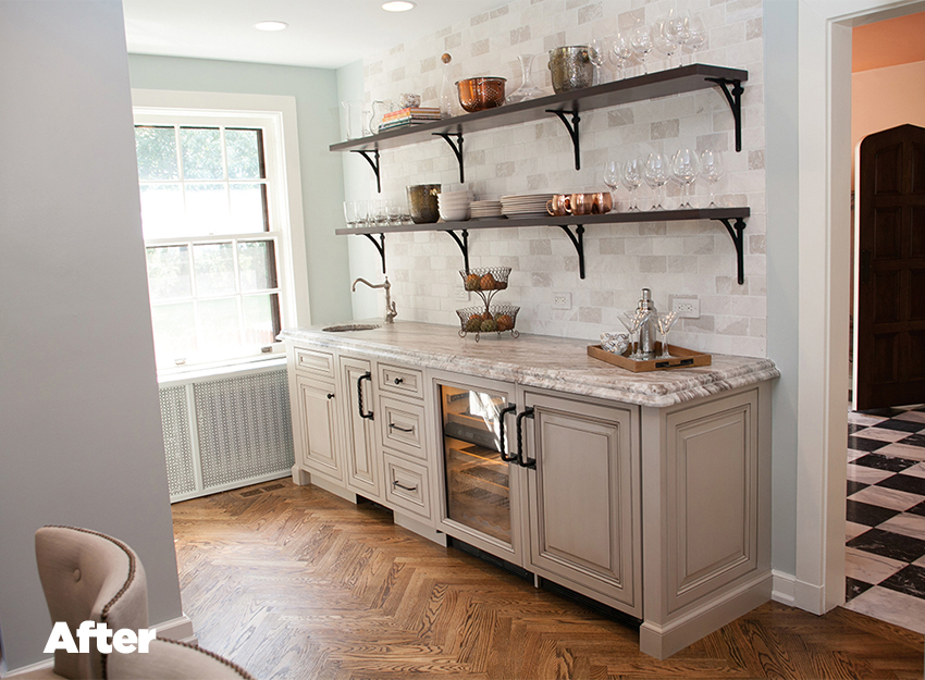 Tudor Kitchen Remodel Hutch