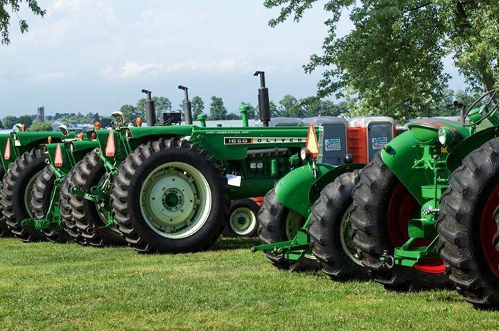 Green Tractors on Display in Rural Field