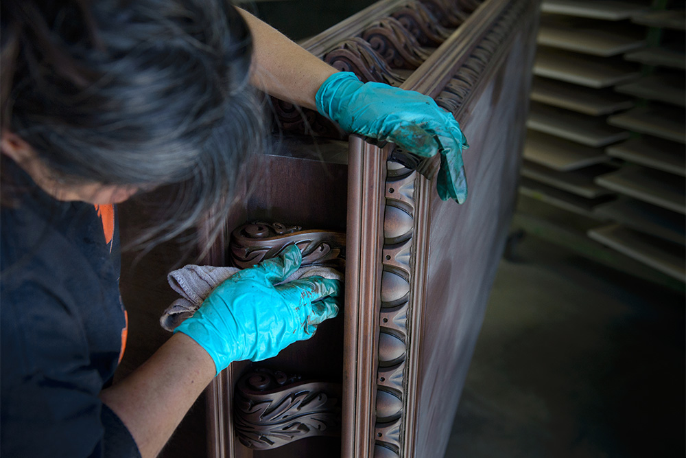 Hand Staining a Custom Range Hood with a Rag