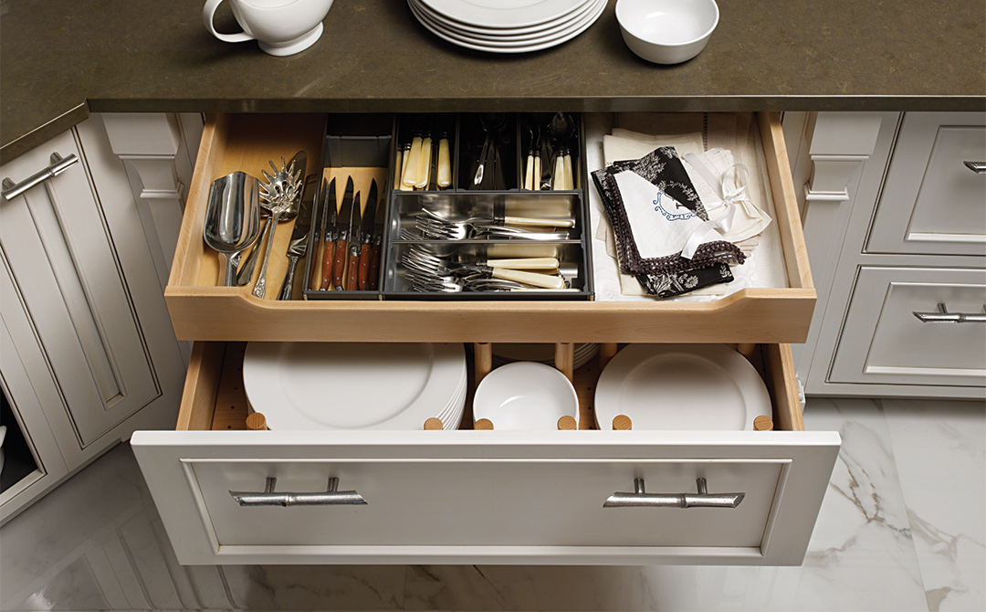 Drawer In Drawer Options Take Advantage Of The Full Height Of Drawer Boxes,  For More Storage. Modern Chinoiserie Kitchen Cabinets