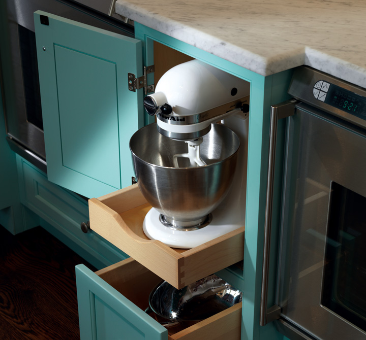 A KitchenAid Mixer Fits Seamlessly Into This Rollout Drawer.