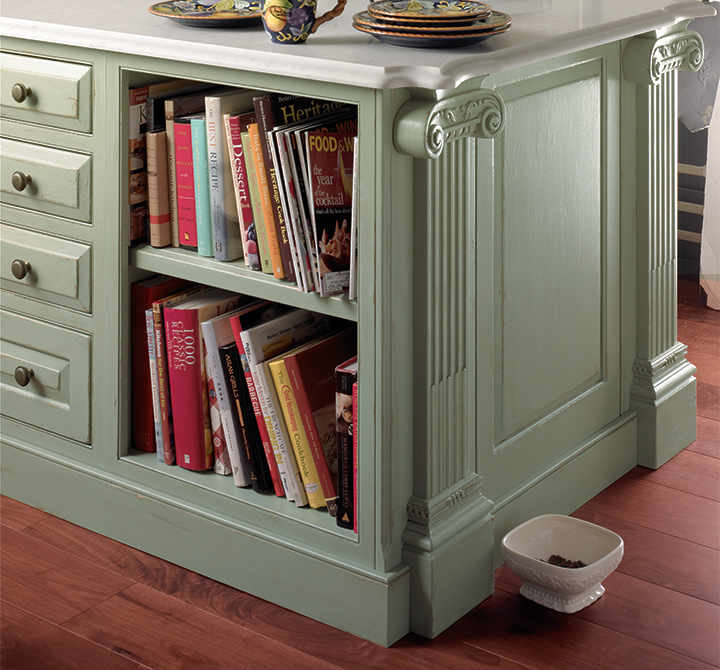 This Island Has Built In Space For Storing Cookbooks. Traditional Kitchen  Cabinets ...