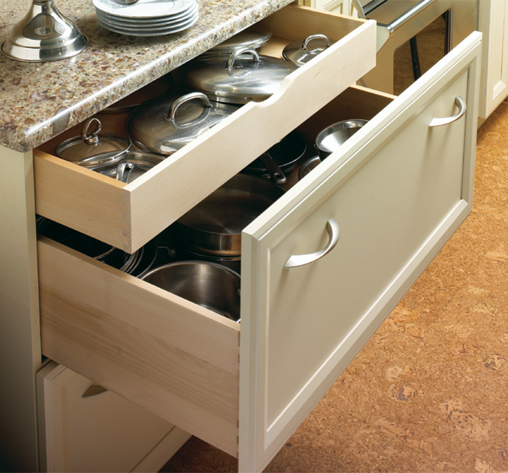 drawer in drawer storage and deep drawers are great for storing lids and their pots and pans counterparts kitchen cabinets with functional comfort - Functional Kitchen Cabinets