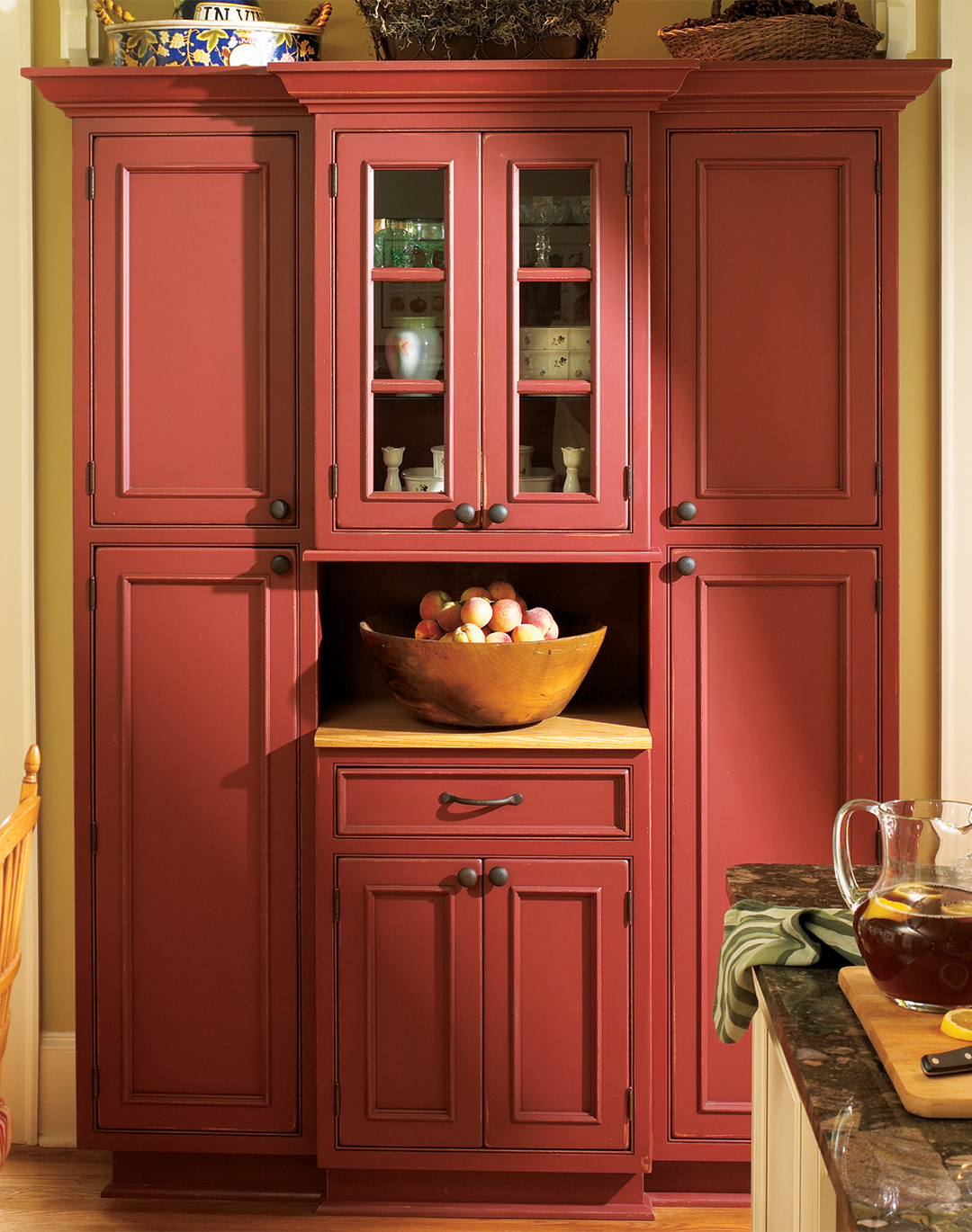 Farmhouse red kitchen cabinets - Red kitchen cabinets ...