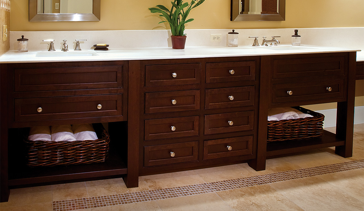 Arts crafts style bathroom cabinets plain fancy - Bathroom items that start with l ...
