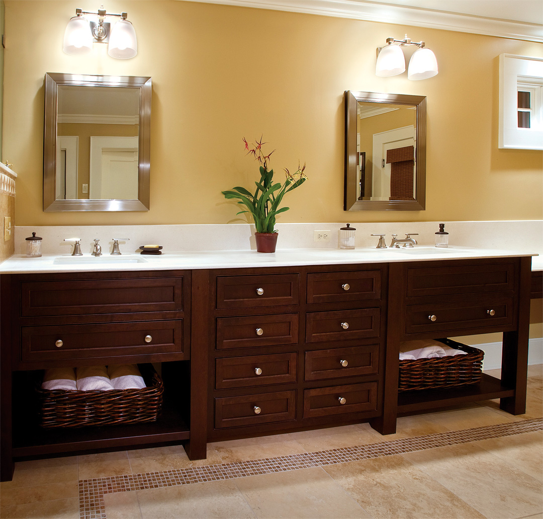 Bathroom Cabinets: Grasscloth Wallpaper