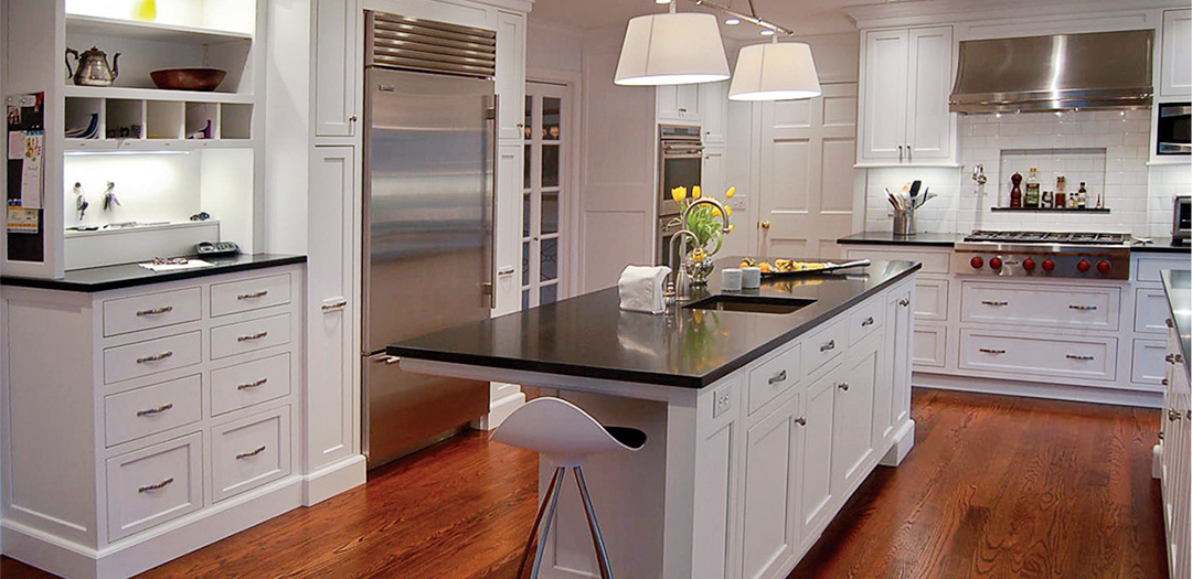 Contemporary Kitchen cabinets with white luster