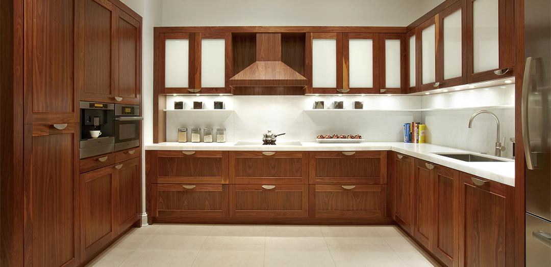 Custom Kitchen Cabinets in Natural Walnut