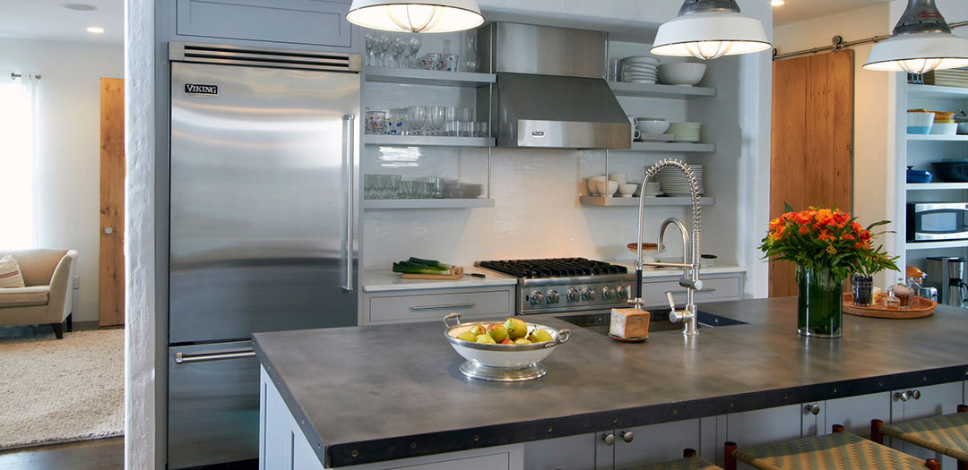 Contemporary Kitchen Cabinets in Cool Blue
