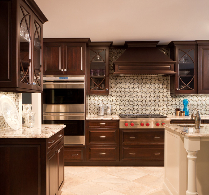 Cherry Custom Cabinetry With Mixed Door Styles. Classic Vintage And  Gorgeous Fishtail Mullions.