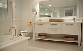 White Bathroom Cabinets with Clean Lines