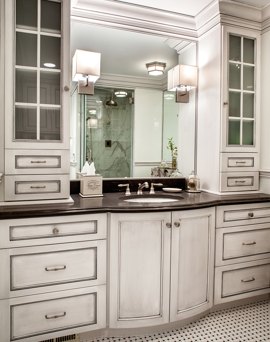 Bathroom cabinets with form and function plain fancy cabinetry for Bathroom cabinet design plans