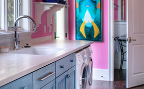 Colorful Custom Cabinets for your Laundry Room