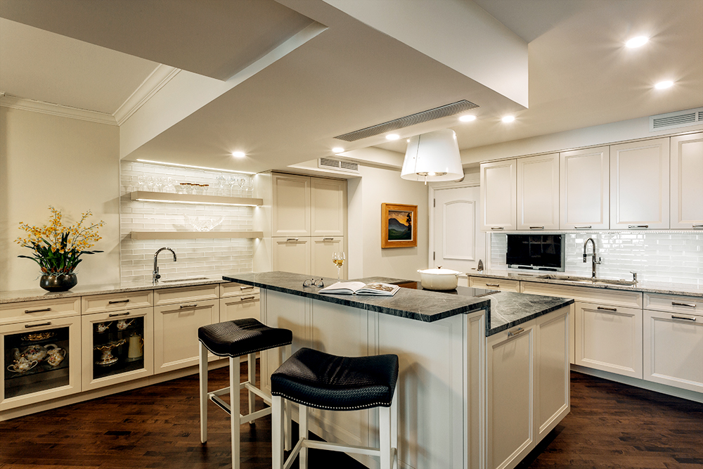 white modern condo kitchen